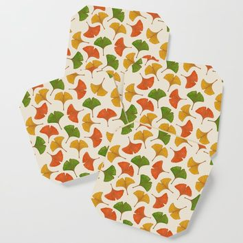 Fall ginkgo biloba leaves pattern Coaster by savousepate