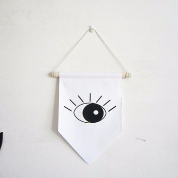 open evil eye canvas banner,amulet all-seeing eye of God Occult Freemasons Illuminati Symbol flag,mini wall hanging pennant