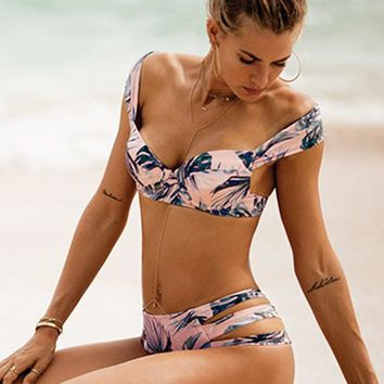 Summer new fashion leaf print straps two piece bikini swimsuit