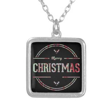 Merry Christmas Greeting Silver Plated Necklace