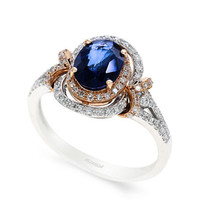 Effy 14K White and Rose Gold Sapphire and Diamond Ring