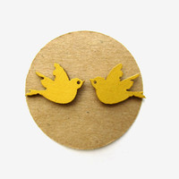 Small Mustard Bird-Spread Wings Wooden Stud Earrings, Mustard Earrings, Fall Fashion, Bird Studs, Bird Accessories, Spread you wings and fly
