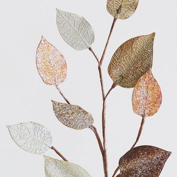 """Metallic Gold & Silver Glittered Metal Holiday Leaves - 28"""" Tall"""