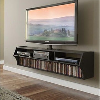 Wall Mounted Floating TV Stand Console 60-Inch Black Media DVD CD Storage Games