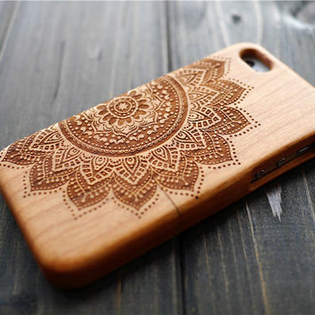 Cherry Wood Mandala iPhone 5c Case Cover , Personalized Wood iPhone 5c Case Holder , Wooden iPhone 5c Protector Case , Wood Case , Gift