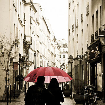 Paris Photography, Paris in the rain, Spring in Paris, Lovers in the Marais, Red Umbrella Print, love, Red Umbrella in Paris, art