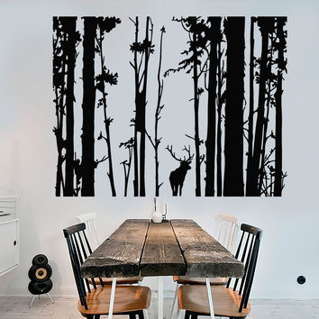 Vinyl Wall Decal Forest Landscape Trees Deer Animal Art Decor Stickers Unique Gift (1245ig)