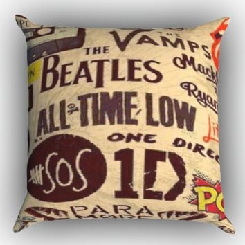 5 seconds of summer, all time low, background, bands, logos, one Zippered Pillows  Covers 16x16, 18x18, 20x20 Inches