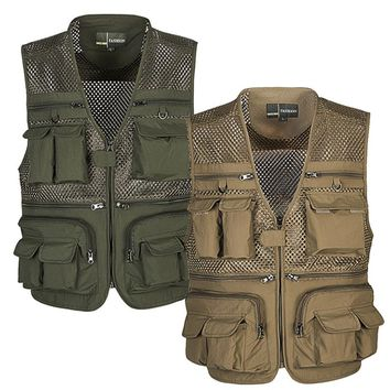 Outdoor Men Camping Hunting Fishing Hiking Vest Amphibious Multi Pockets Tactical Vest Multi-pocket Mesh Breathable Clothes