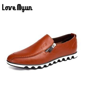 new men soft Loafers leather casual Shoes size 7810
