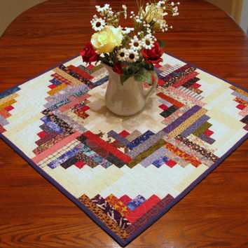 TABLE RUNNER-Table Topper-Quilted Table Runner-Coaster-Mug Rug-Casserole Mat-Table Cloth-Centerpiece -Log Cabin Quilt