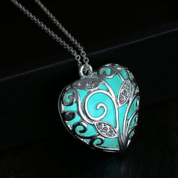 Sky blue glow in the dark, silver heart pendant necklace, key ring, or rear view mirror hanger