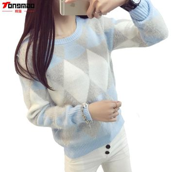 Brand Woman Sweater Pullover 2017 Autumn Winter Fashion Casual O-Neck Long sleeve Argyle Candy Pullovers Pull Femme Sweter Mujer
