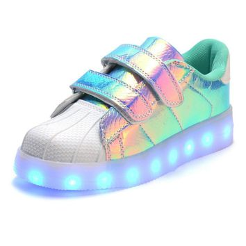 Girls USB Rechargeable Pearlized LED Light Up Tennis Shoes. Color Changing Sneakers.