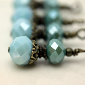 Pale Aqua Seafoam Slate Blue and Green Multifaceted Crystal Rondelle Bead Dangle Drop Set