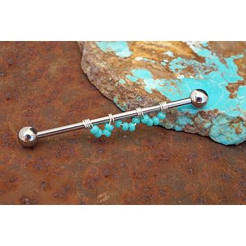 Industrial Barbell 14g 16g Turquoise Scallop Design