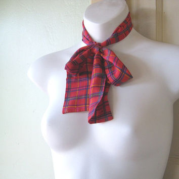 Bright Red Plaid Silk Necktie - Red/Blue/Violet Plaid Unisex Tie - Red Plaid Tie for Blouse or Ponytail