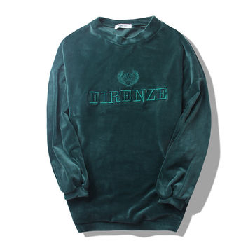 Green Velvet Letter Embroidery Long Sweatshirt