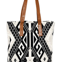Gallatin Valley Black and Cream Southwest Print Tote
