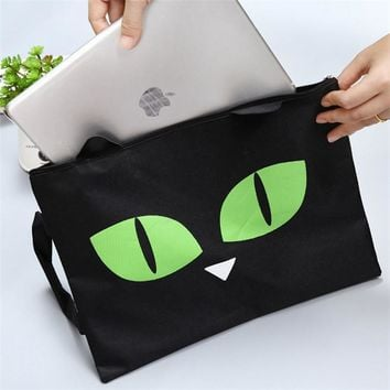 Cute black Cat A4 Bag Fabric File Folder For Documents Stationery 32*24cm Document Bag School Suppliers