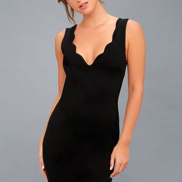 Watch for Curves Black Sleeveless Bodycon Midi Dress