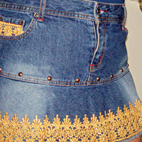 Ladies Denim Jean Skirt With Imported Gold Lace