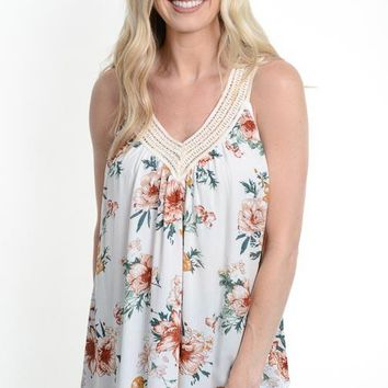 Ivory Floral Crochet Tank