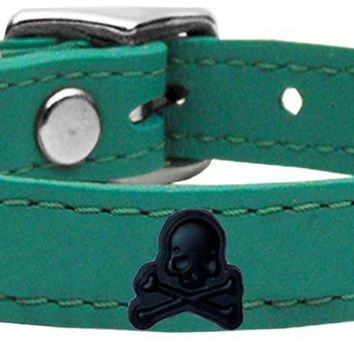 Skull Widget Genuine Leather Dog Collar Jade 20