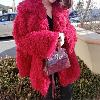 Stylish Red Curly Long Hairy Shaggy Faux Lamb Wool Fur Coat 2016 Winter Women Lapel Faux Fur Jackets Loose Mid Long Outerwear