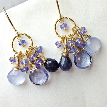 Blue Earrings Tanzanite Gem Cluster Earrings Wire Wrap Gemstones Blue Lapis Blue Chalcedony Petite Earrings 14kt Gold Fill