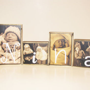 4 Photo Blocks - Personalized - Perfect for Mother's Day, Father's Day, Weddings, or Grandparents
