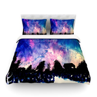 "Theresa Giolzetti ""First Snow"" Purple Blue Cotton Duvet Cover"