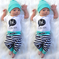 Newborn Baby Boys Girls Clothes Set T-Shirt Letter Hi Tops + Long Pants Striped + Hat 3Pcs Baby Boys Outfits Set