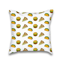 Pizza Taco Burger Cartoon Kawaii Print Throw Pillow