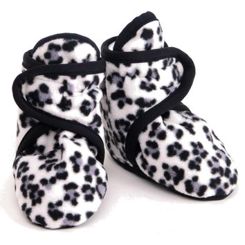 Fleece Baby Booties Snow Leopard