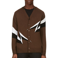 Neil Barrett Brown Intarsia Lightening Cardigan