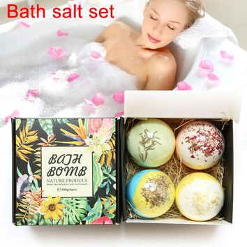 4pcs Bath Salt Bomb Ball Women Body Beauty Essential Oil Natural Bubble Whitening Moisturize Relaxation Gift Skin Care Bath Salt