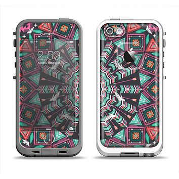 The Mirrored Coral and Colored Vector Aztec Pattern Apple iPhone 5-5s LifeProof Fre Case Skin Set