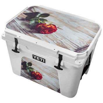 Red Dyed Yellow Rose on Chipped Paint Skin for the Yeti Tundra Cooler