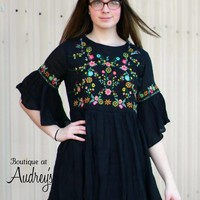 Umgee Black Dress with Colorful Floral Embroidery