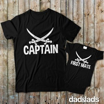Captain First Mate Matching Father Son Shirts