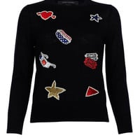 Marc Jacobs Black Embroidered Pullover - Black Embroidered Pullover