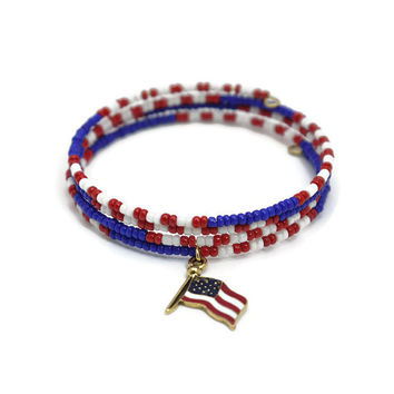 American Flag Charm Bracelet - Red White and Blue 4th of July Wrap Bracelet - Patriotic July 4th Jewelry - Seed Bead Memory Wire Bracelet