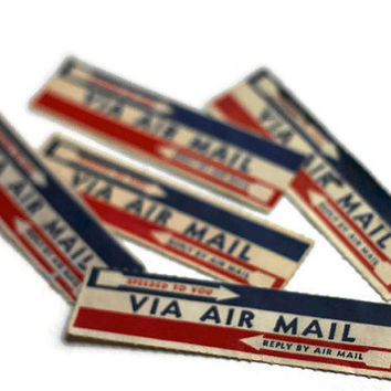 Vintage Air Mail Stamps Set of 5 - Destash Lot Paper Ephemera