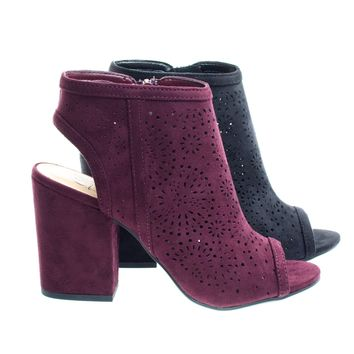 Parking Vino by Delicious, Perforated Chunky Block Heel Sandal Bootie w Sling Back & Peep Toe