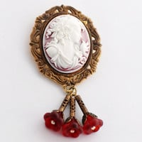 Convertible Brooch Cameo, Red Cameo Brooch, Red Floral Brooch, Cameo Jewelry, Victorian Style Cameo Pendant, JewelryFineAndDandy, SRAJD
