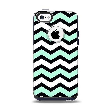 The Teal & Black Wide Chevron Pattern Apple iPhone 5c Otterbox Commuter Case Skin Set