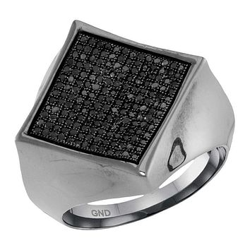 10kt White Gold Men's Round Black Color Enhanced Diamond Square Cluster Ring 1/2 Cttw - FREE Shipping (US/CAN)