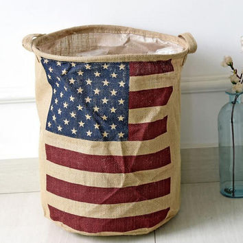 American Flag Jute Storage Debris Bucket Laundry Fluid Collapsible Bucket Ventilation