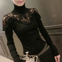 Turtleneck Long Sleeve Lace Pullover Sweater